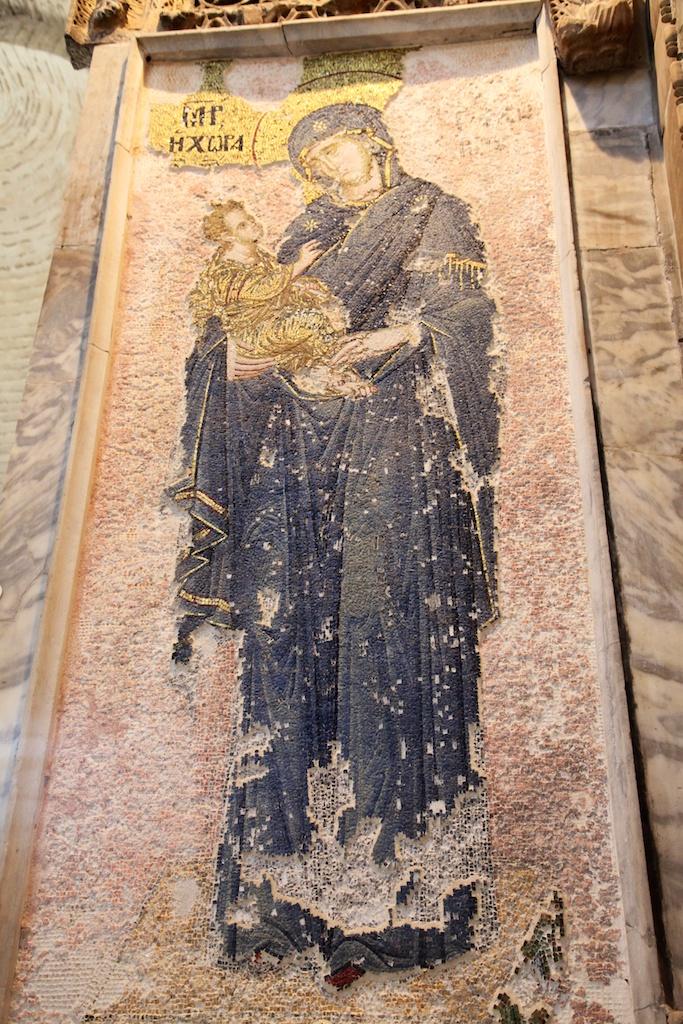 Mary with baby Jesus mosaic